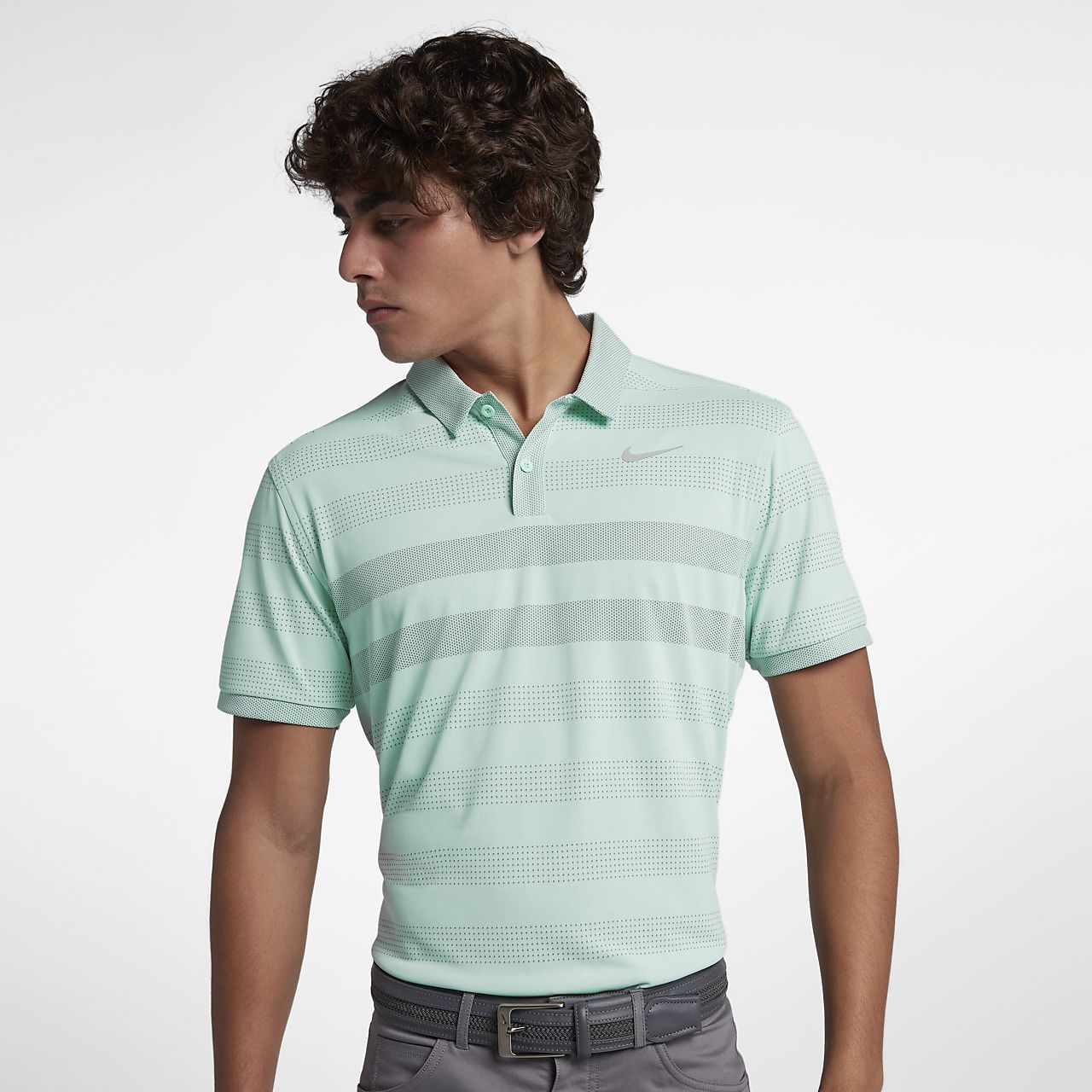 Pánská golfová polokošile Nike TechKnit Cool s proužky