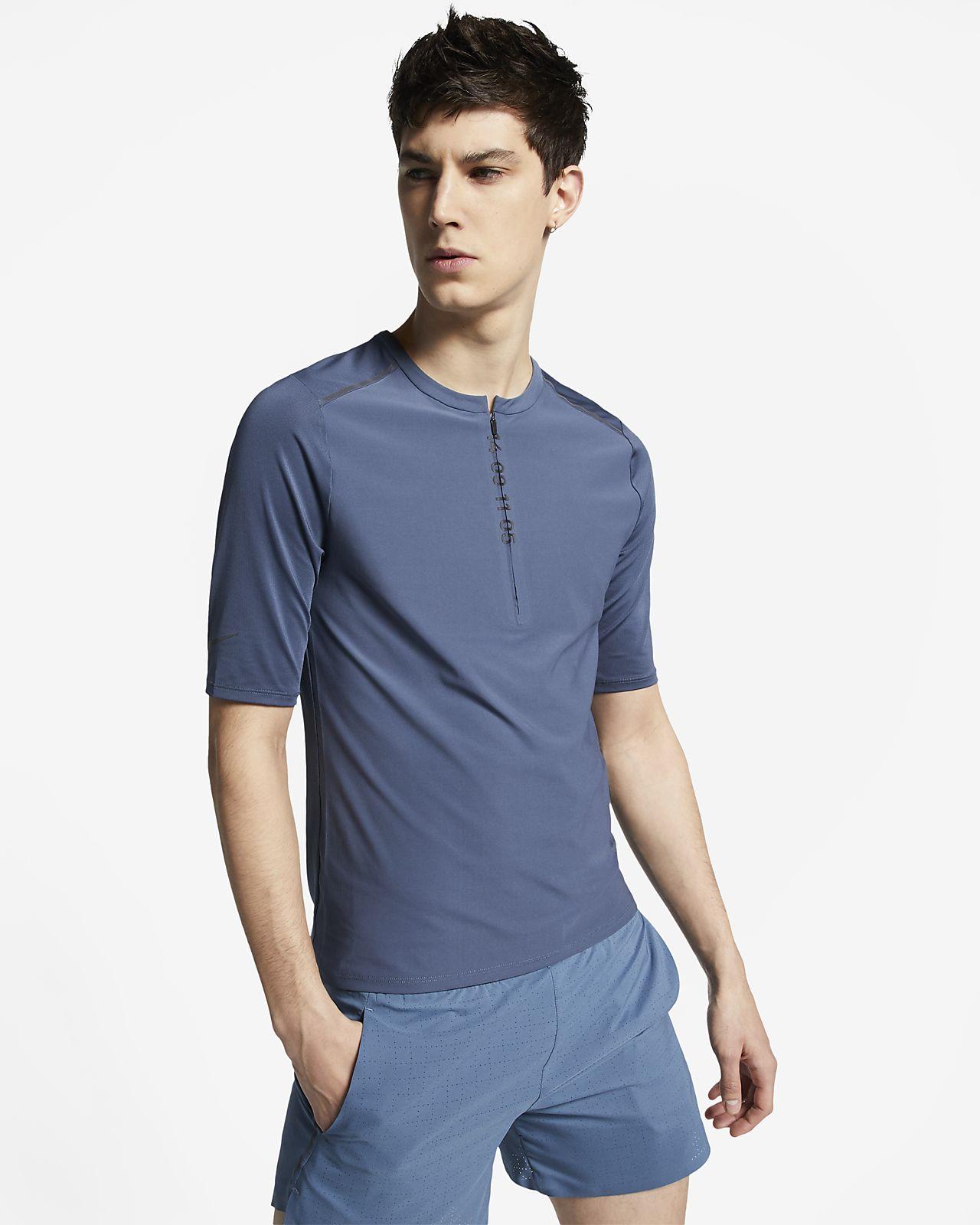 Męska koszulka z krótkim rękawem i zamkiem 1/2 do biegania Nike Tech Pack