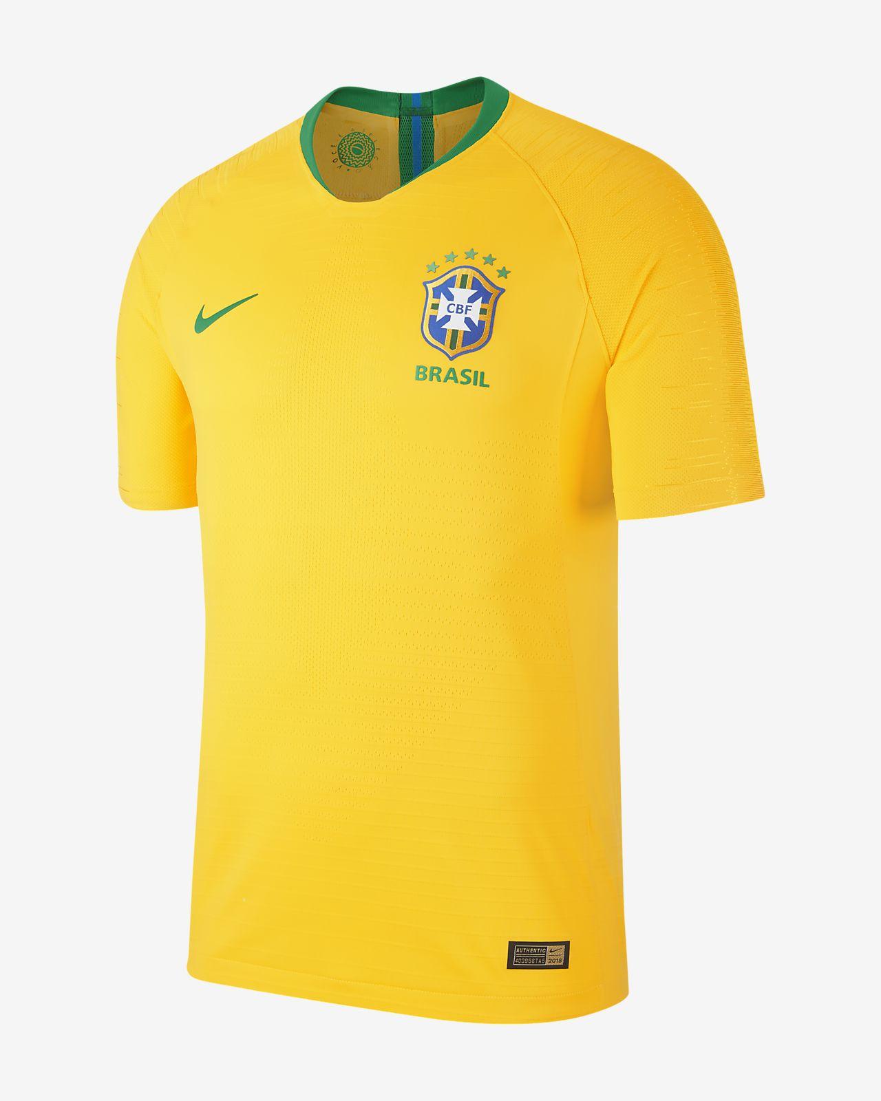 Camiseta de fútbol para hombre 2018 Brasil CBF Vapor Match Home