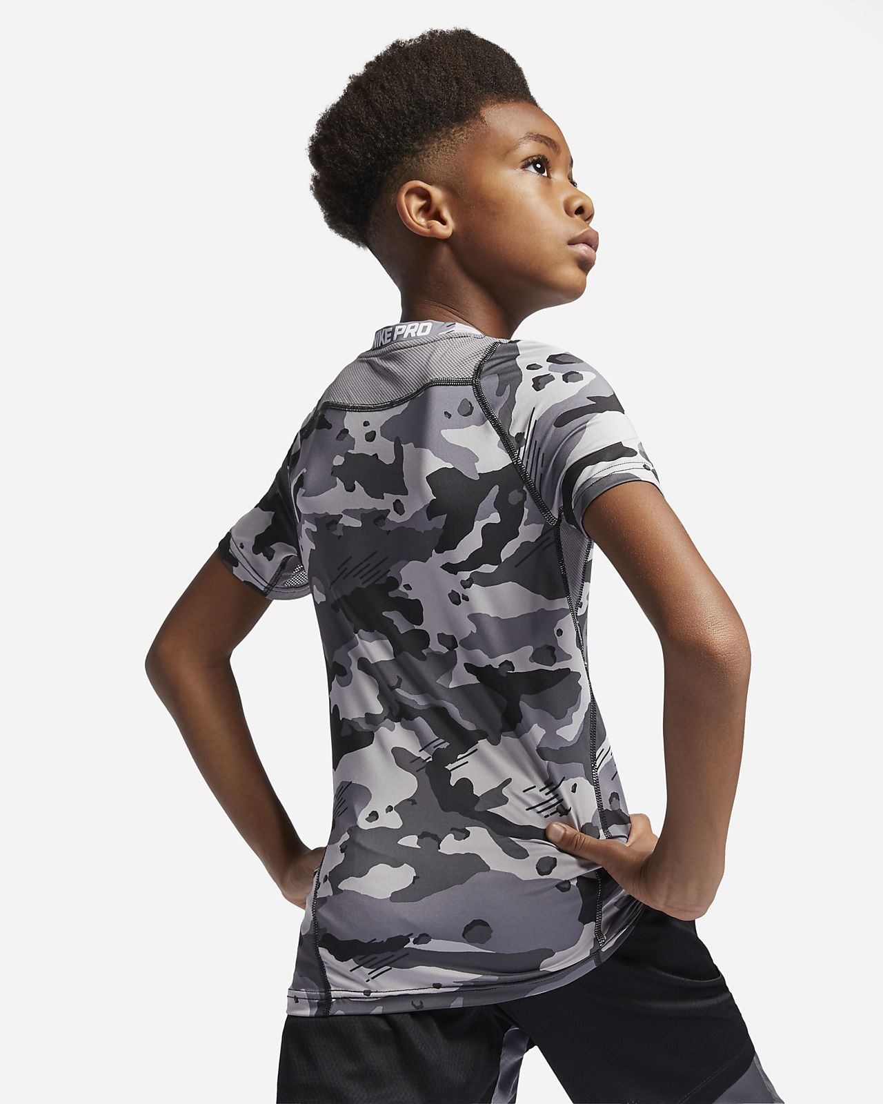 Nike Pro Big Kids' (Boys') Short-Sleeve Printed Top