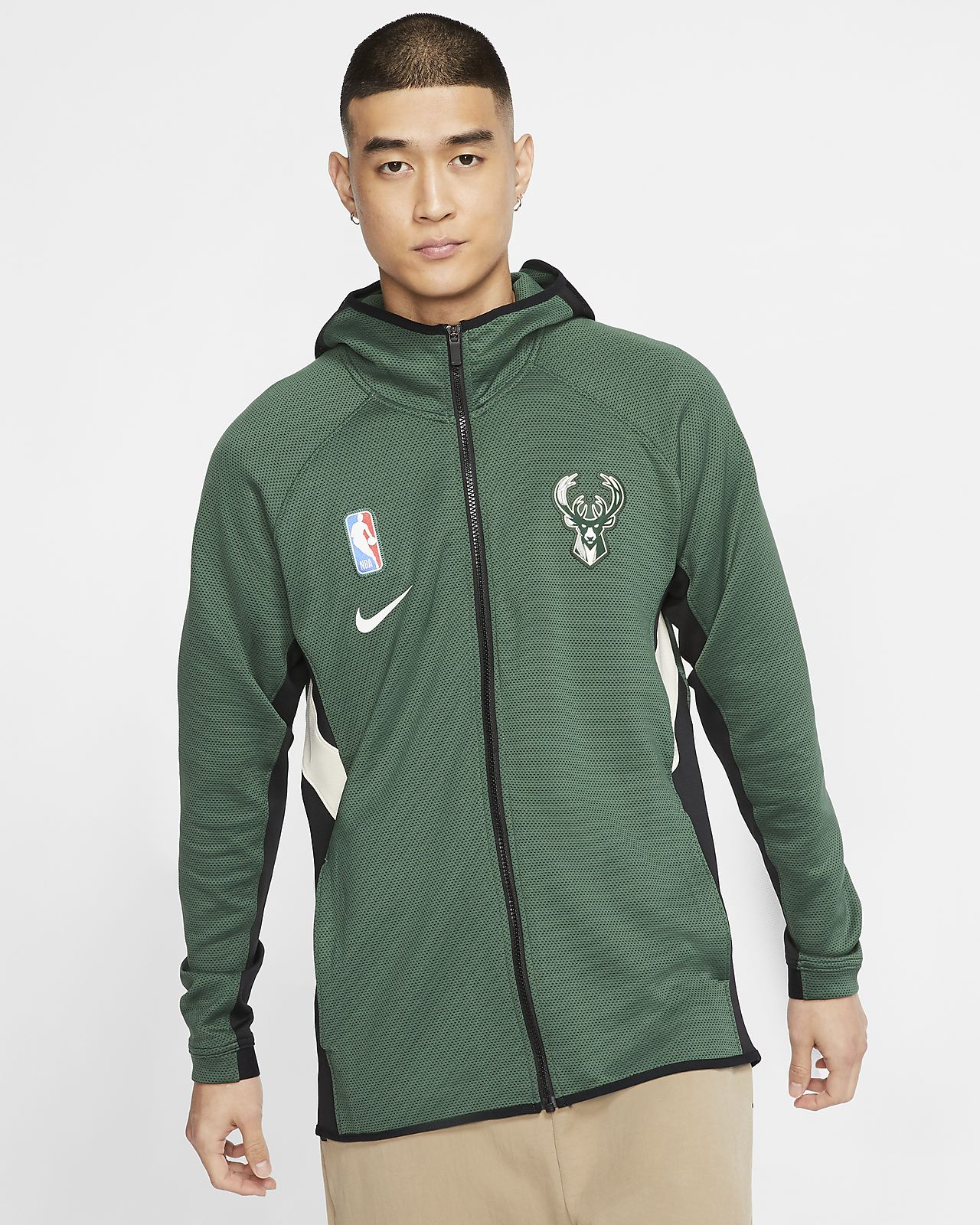 Milwaukee Bucks Nike Therma Flex Showtime NBA Erkek Kapüşonlu Üst