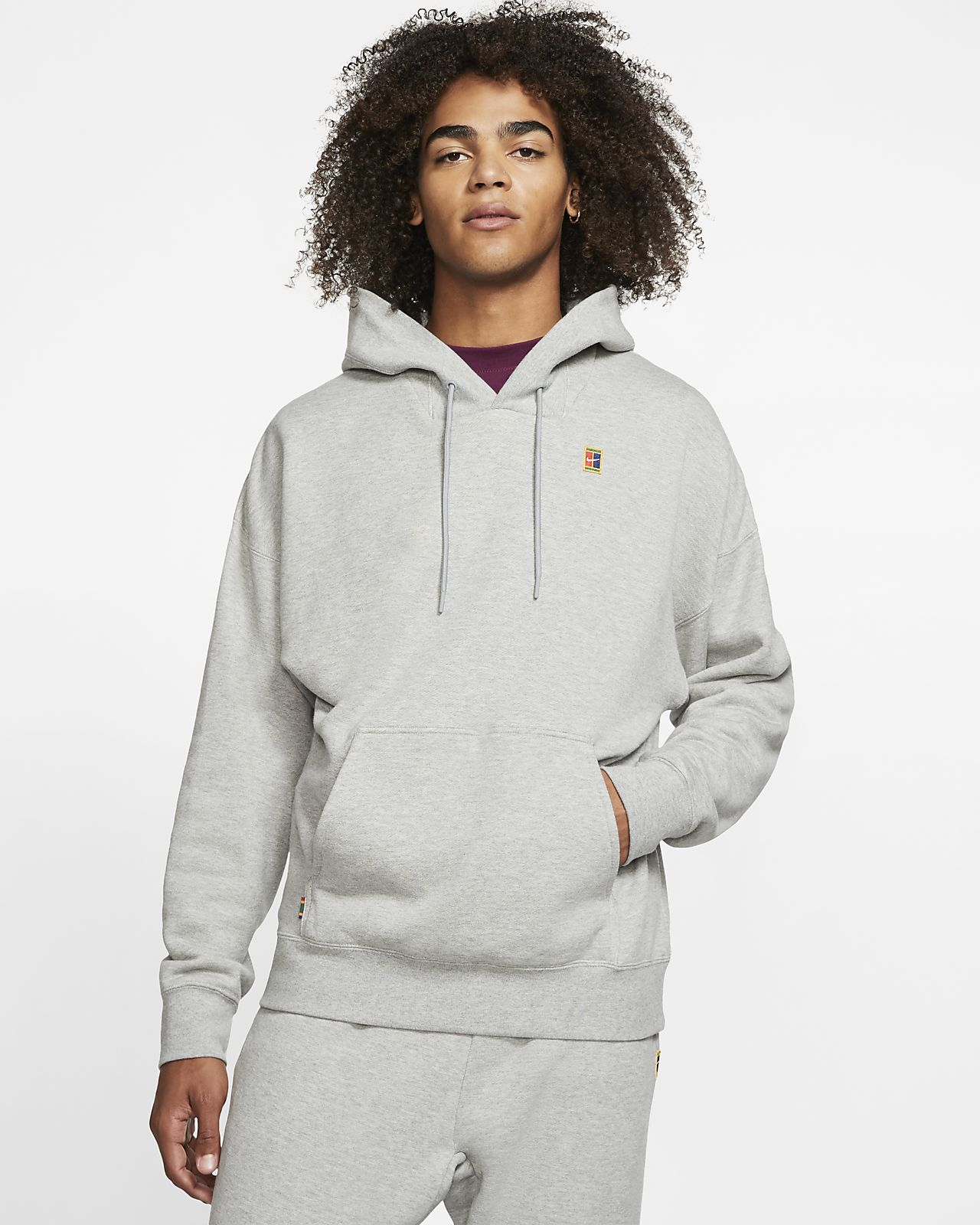 NikeCourt-tennishættetrøje i fleece til mænd