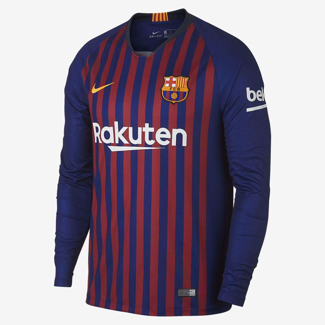 05e6826e585 2018 19 FC Barcelona Stadium Home Men s Long-Sleeve Football Shirt ...