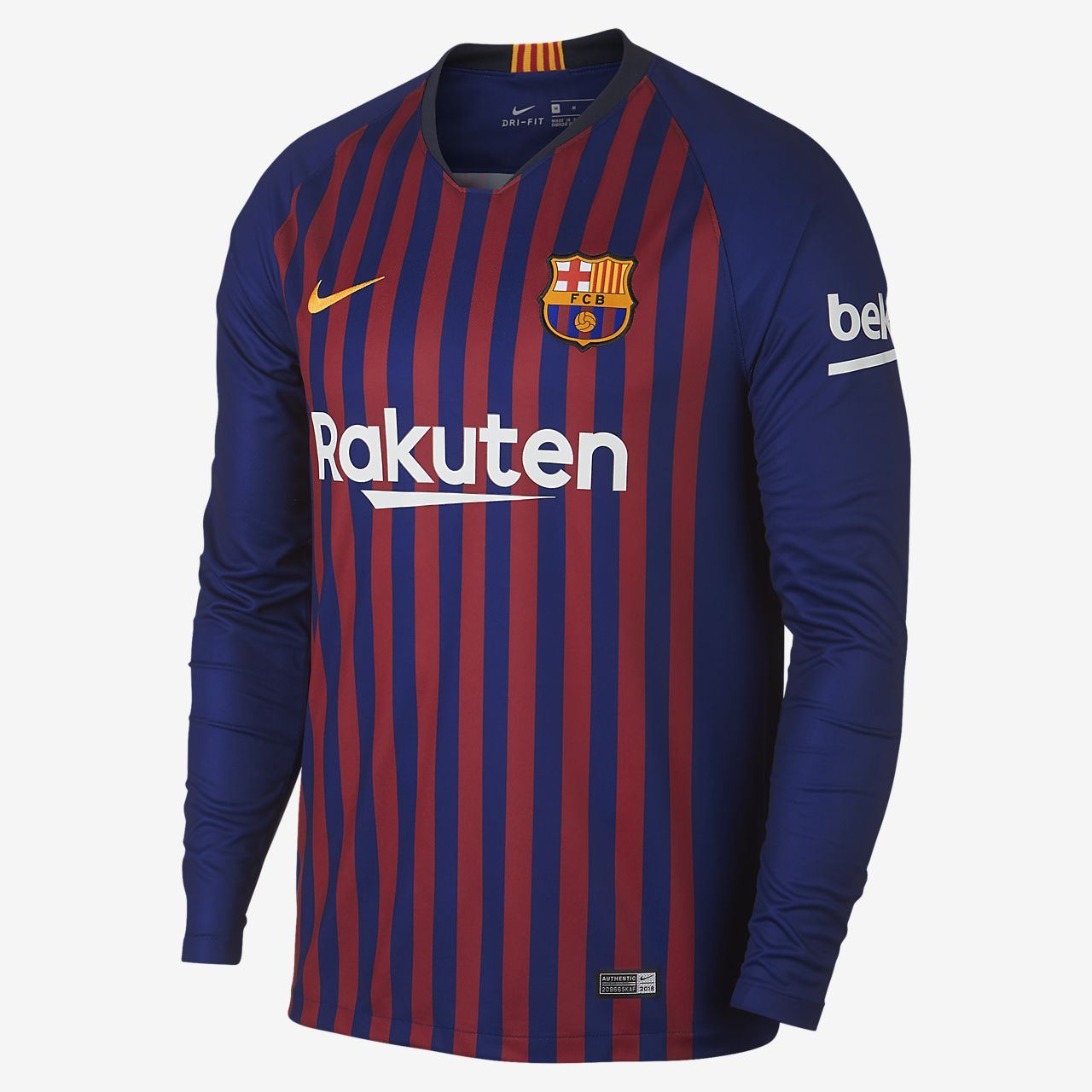 2018/19 FC Barcelona Stadium Home Men's Long-Sleeve Football Shirt