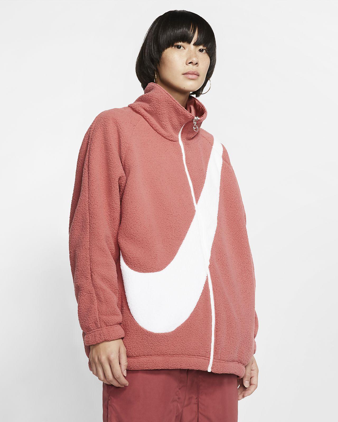 Γυναικείο τζάκετ διπλής όψης Nike Sportswear Swoosh από ύφασμα Sherpa