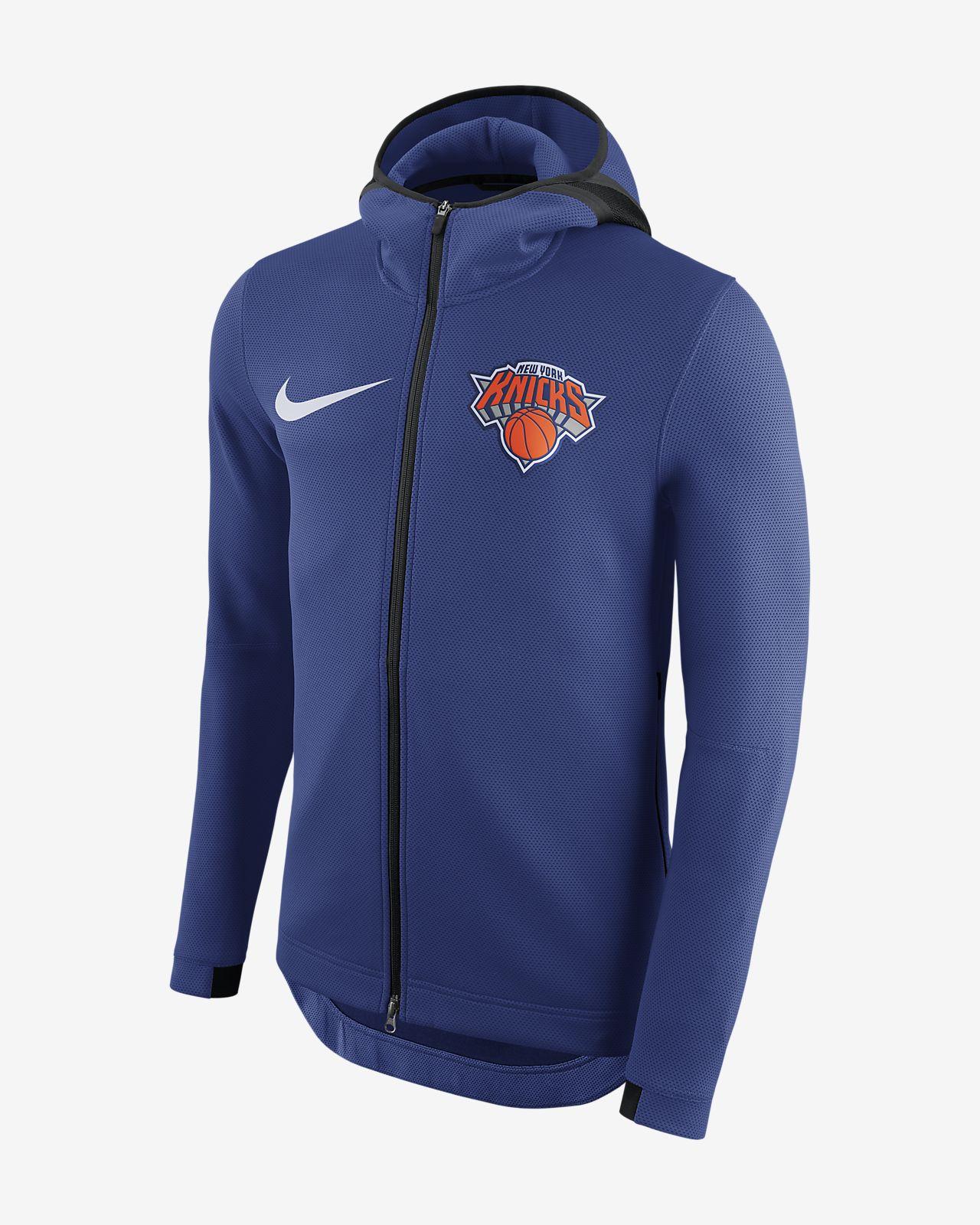 Męska bluza z kapturem NBA New York Knicks Nike Therma Flex Showtime