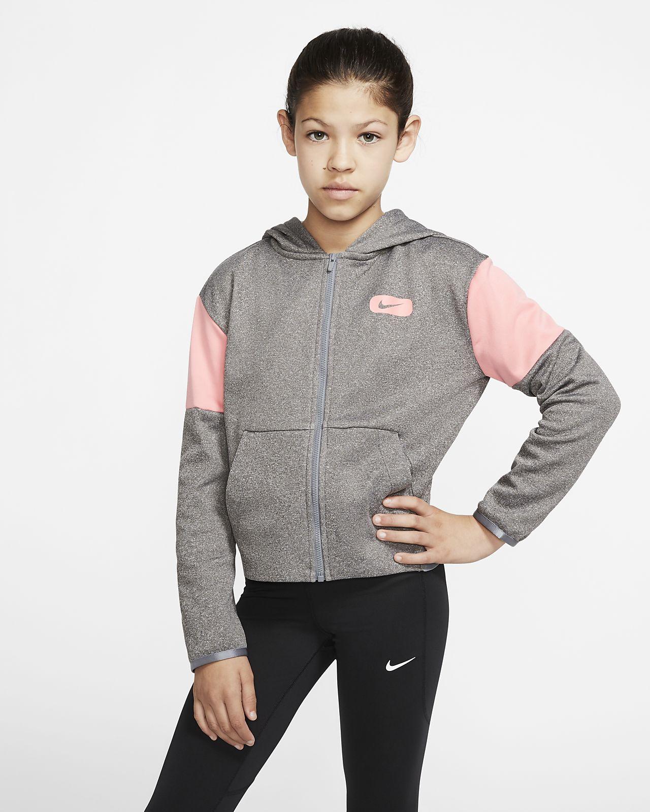 Nike Therma Big Kids' (Girls') Graphic Full-Zip Training Hoodie