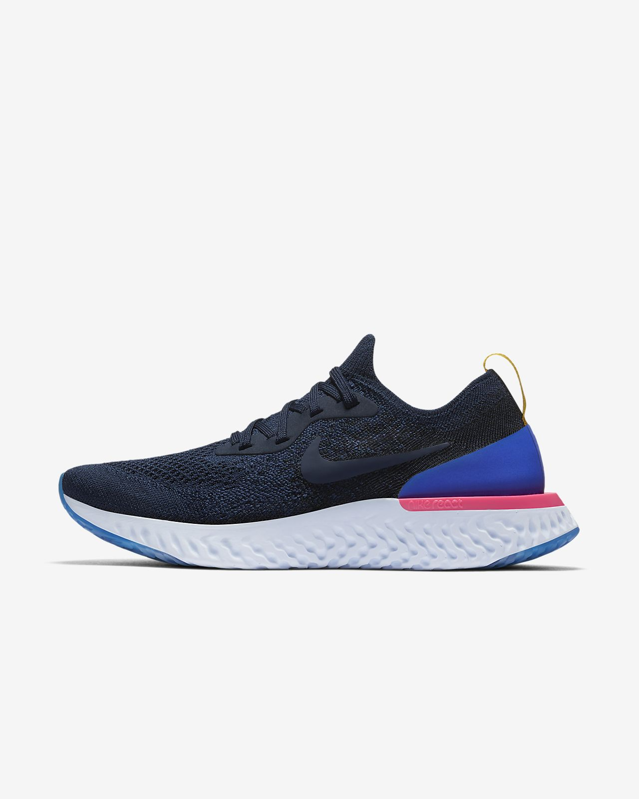 Nike Epic React Flyknit College Navy Racer Blue Pink Blast College Navy AQ0070400