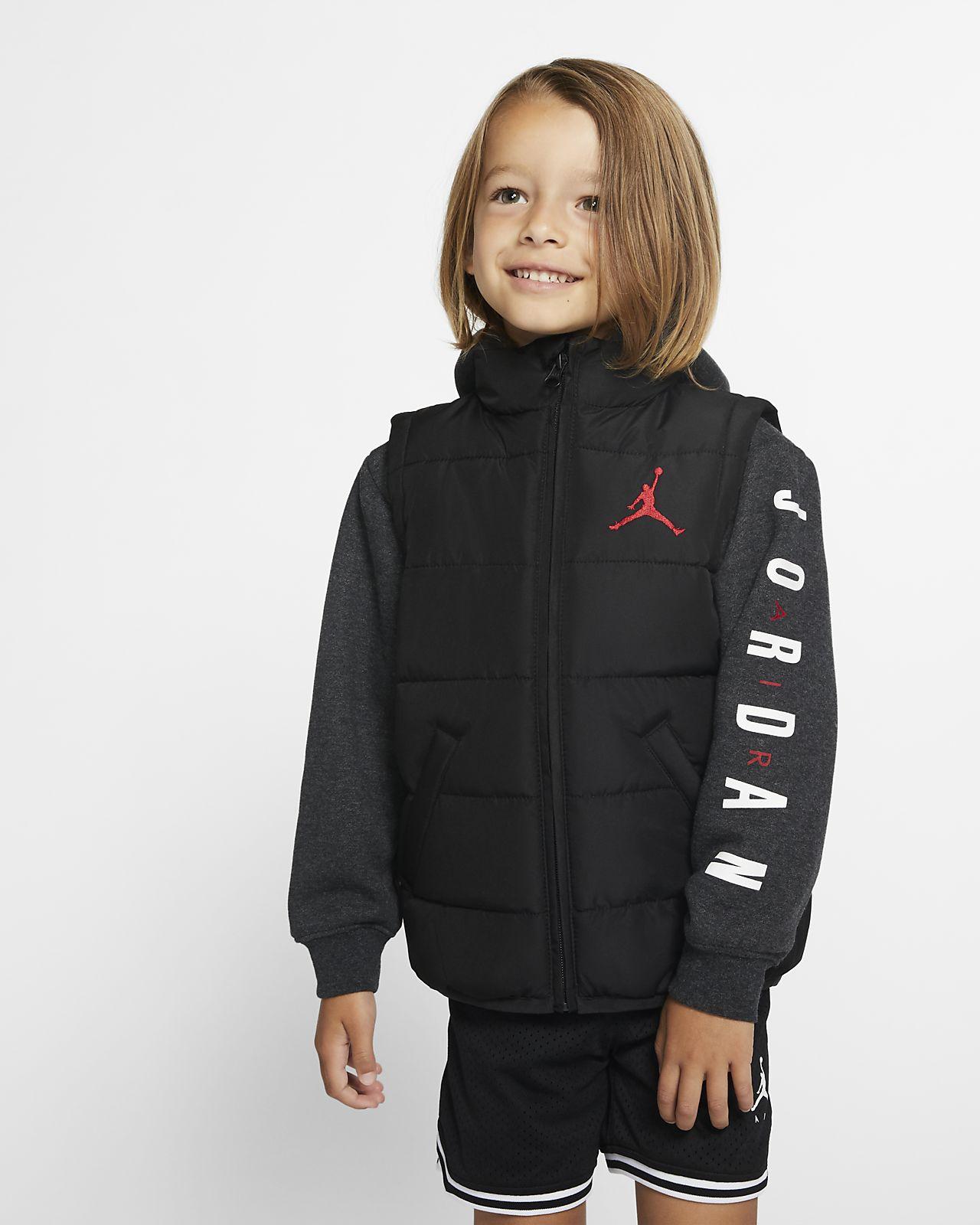 Jordan Jumpman-dynejakke med lynlås i fuld længde til småbørn