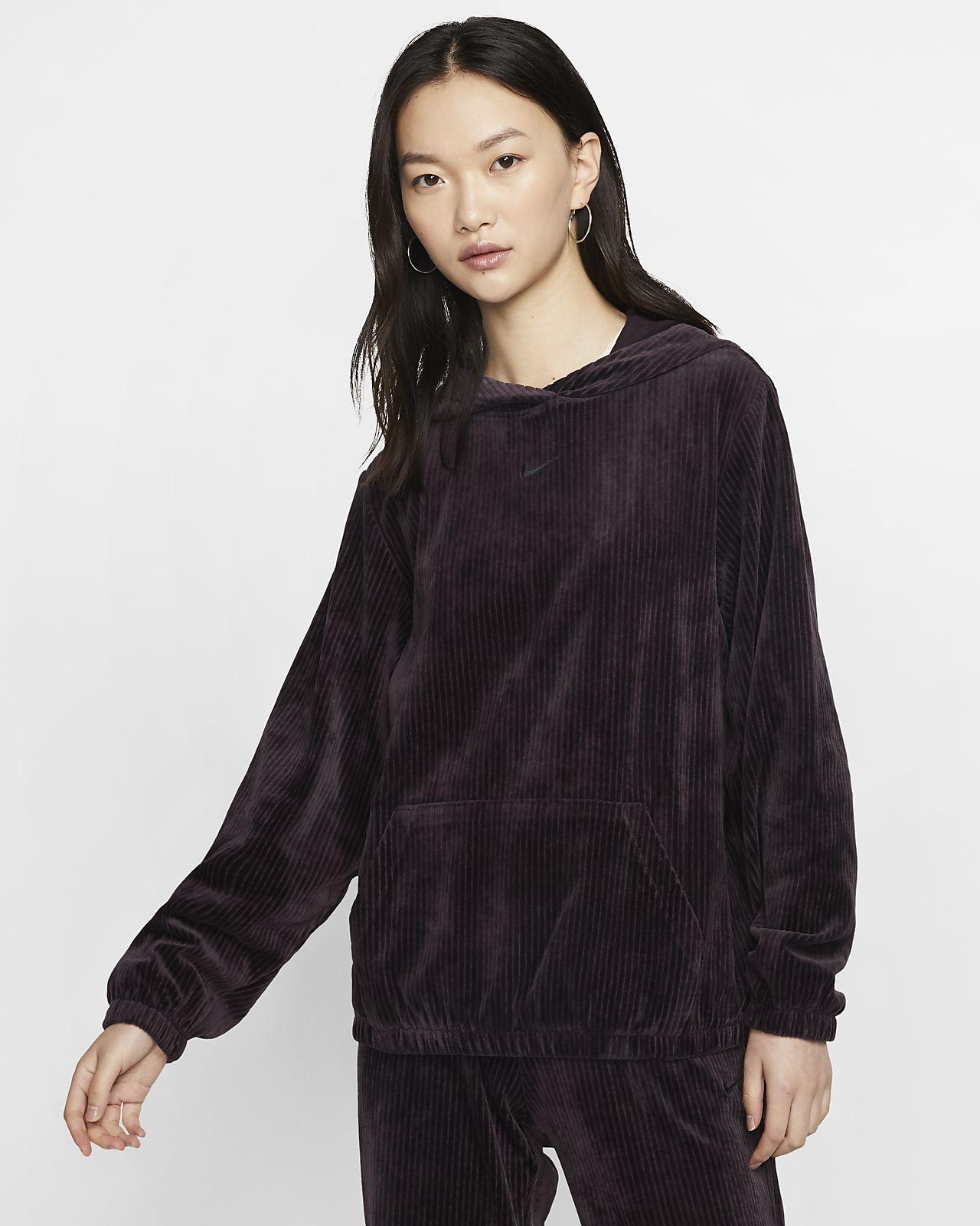 Damska welurowa bluza z kapturem Nike Sportswear