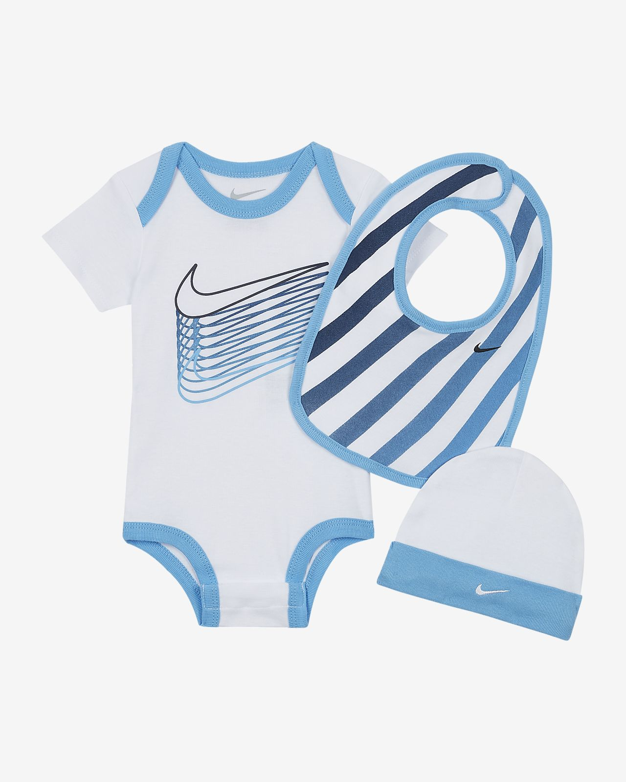 Nike Baby Bodysuit, Bib and Beanie Set