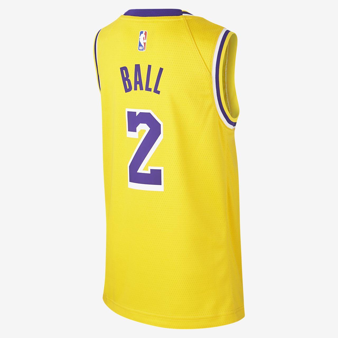 new style 6aab0 2dfea Lonzo Ball Los Angeles Lakers Nike Icon Edition Swingman Jersey Men's NBA  Jersey