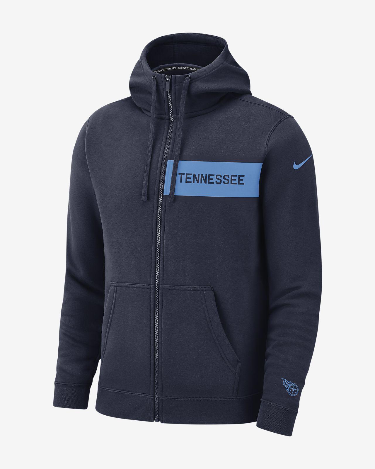 Ανδρική φλις μπλούζα με κουκούλα και φερμουάρ σε όλο το μήκος Nike (NFL Titans)