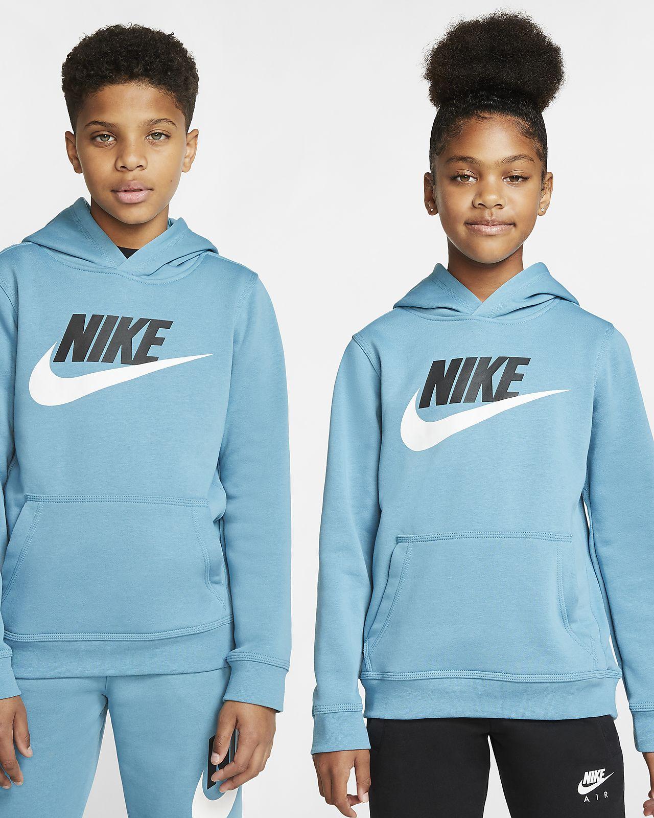 Nike Sportswear Club fleece-hettegenser til store barn