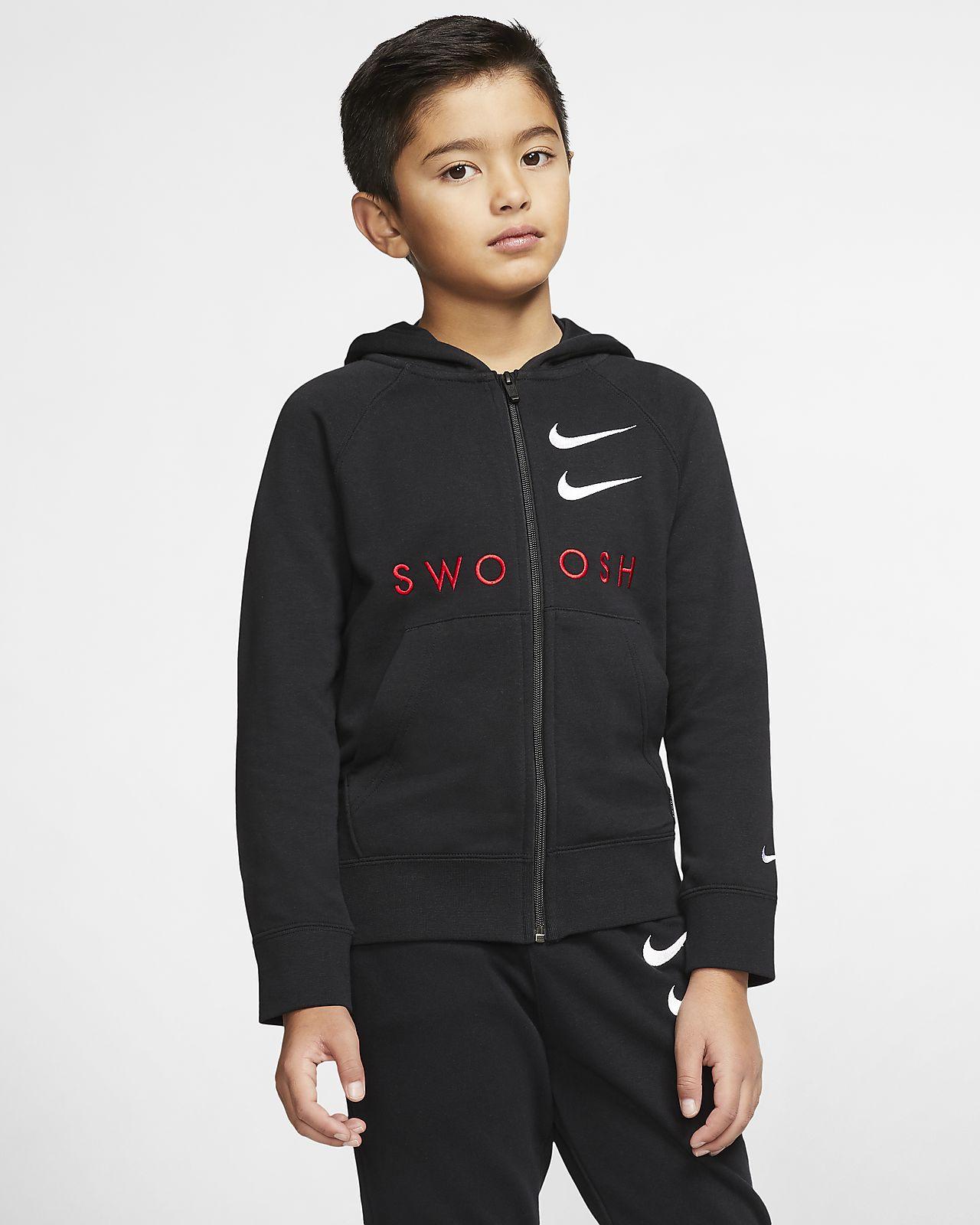 Nike Sportswear Swoosh Tam Boy Fermuarlı Genç Çocuk (Erkek) Kapüşonlu Üst