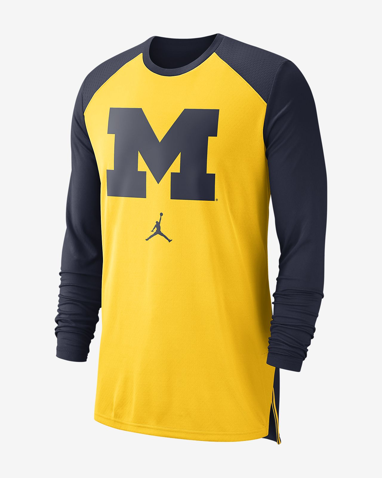 0939e6872445 Jordan College Dri-FIT (Michigan) Men s Long-Sleeve Basketball Top ...