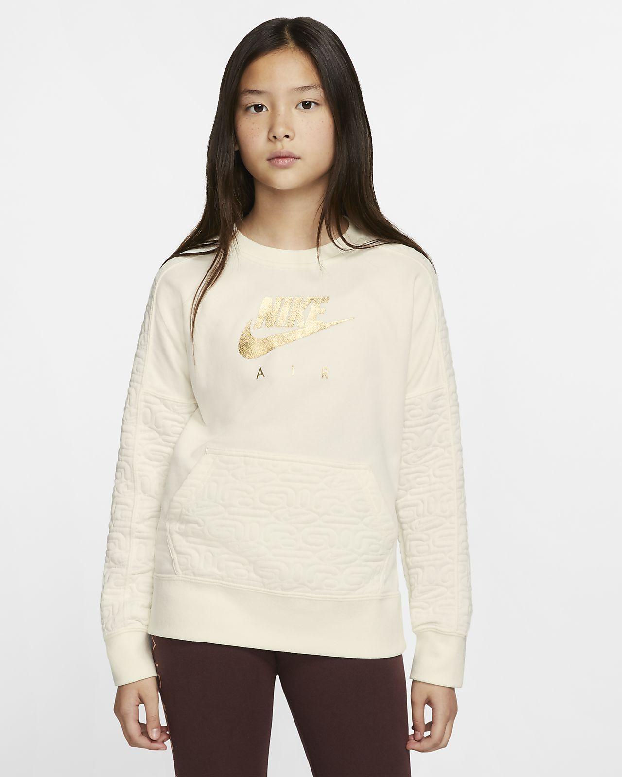 Prenda para la parte superior de tejido Fleece de manga larga para niña Nike Air