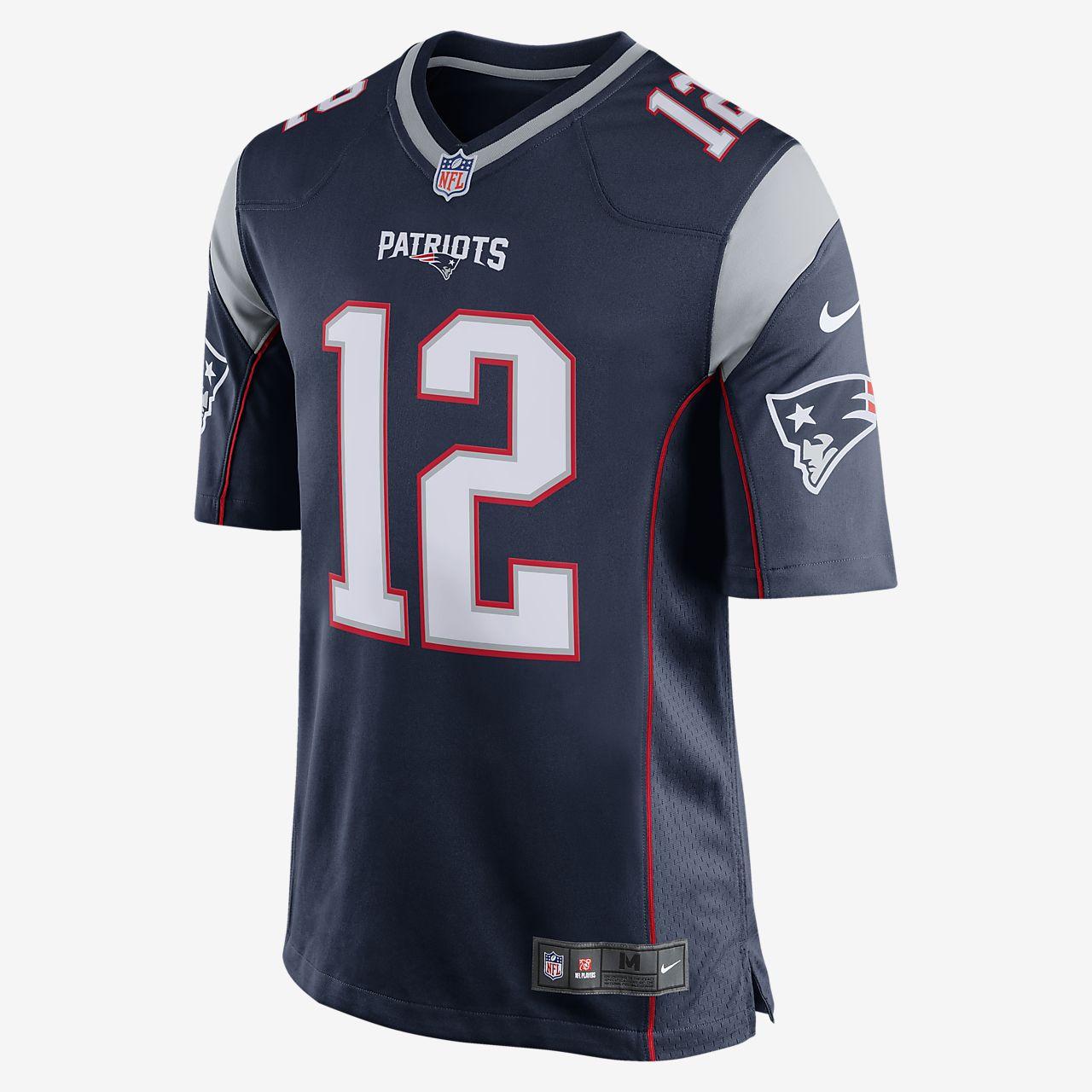 de0966694 ... Camisola de jogo principal de futebol americano NFL New England  Patriots (Tom Brady) para