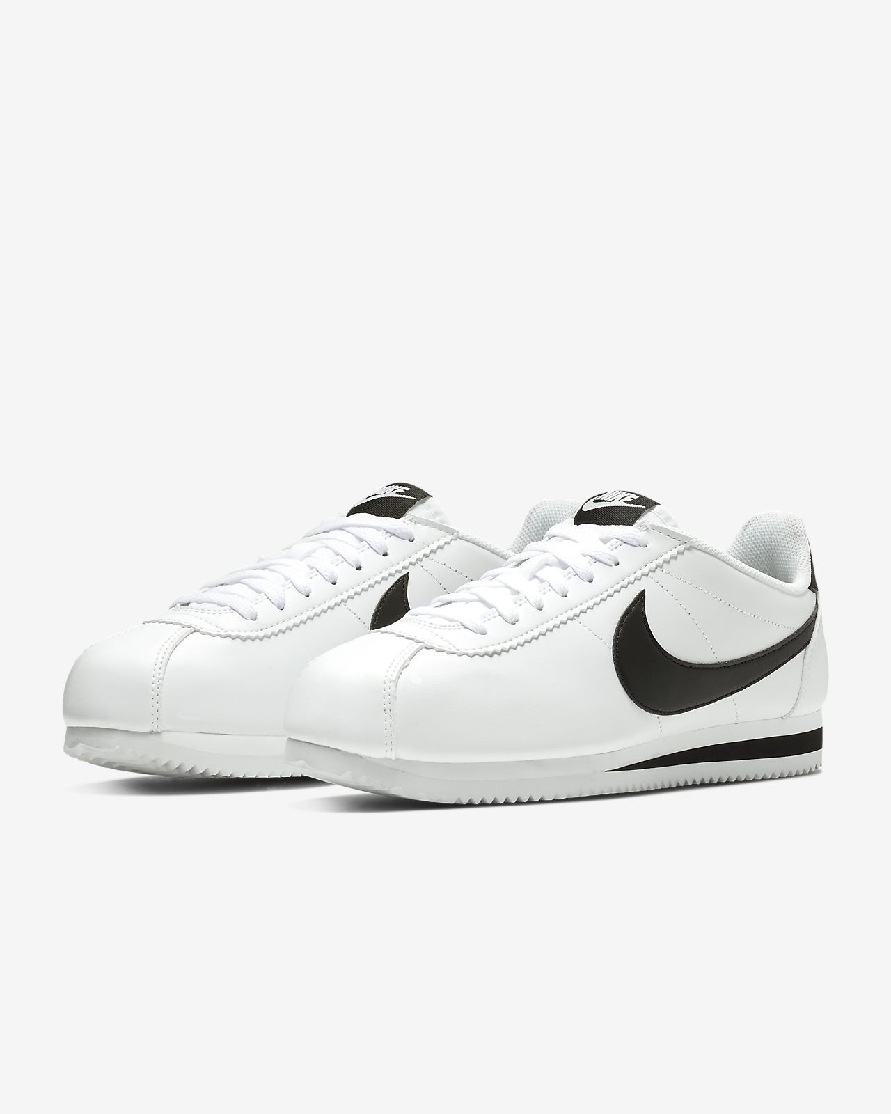 Nike Cortez Women Leather Shoes Black White