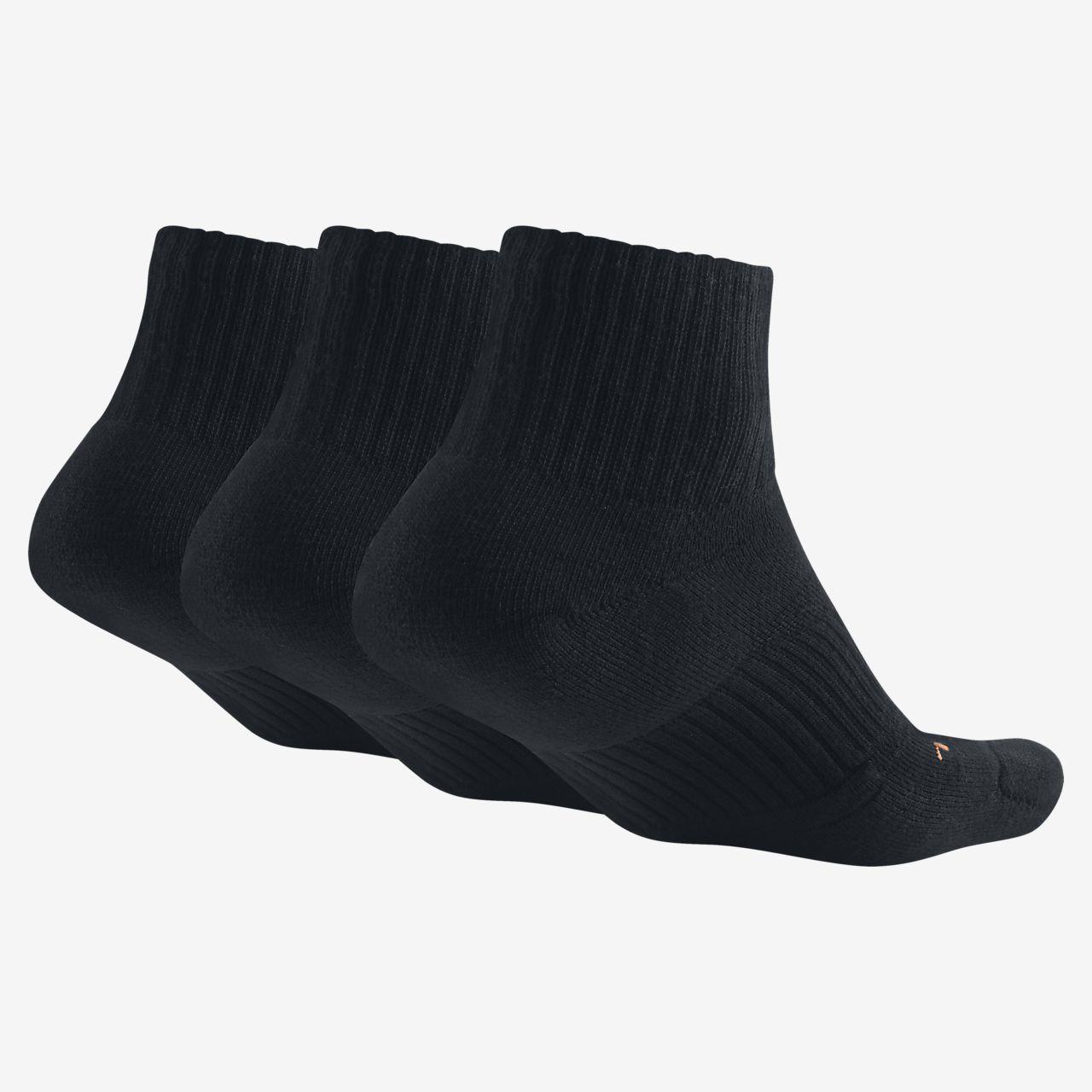 nike dri fit half cushion quarter 3 pair training socks. Black Bedroom Furniture Sets. Home Design Ideas