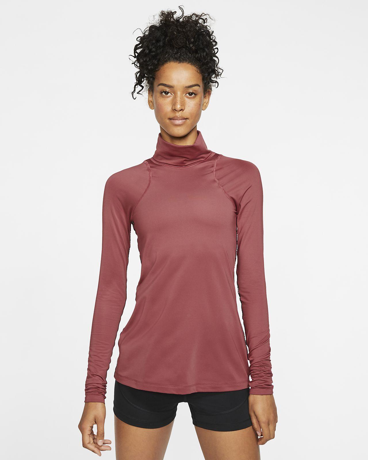 Haut métallisé à manches longues Nike Pro Warm pour Femme