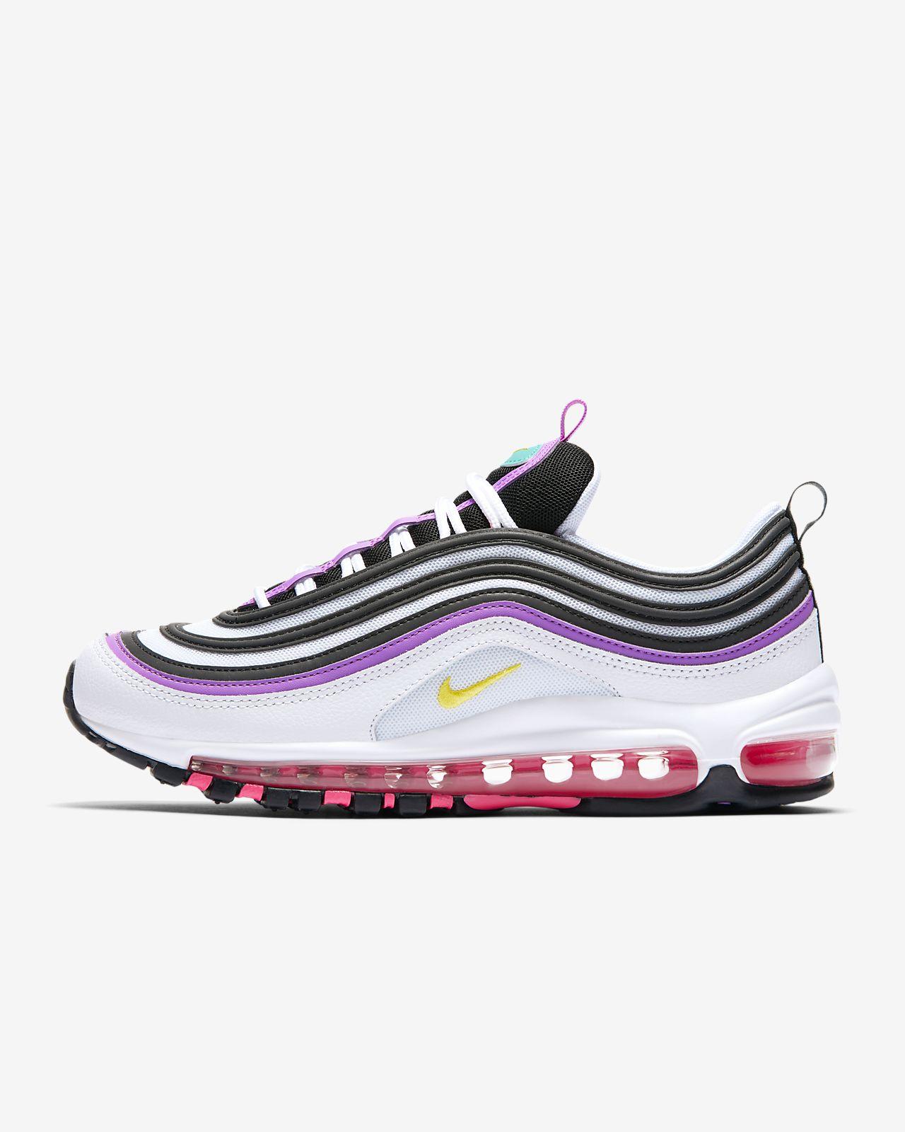 WMNS Nike Air Max 90 Cuir Gris Noir Violette Femme