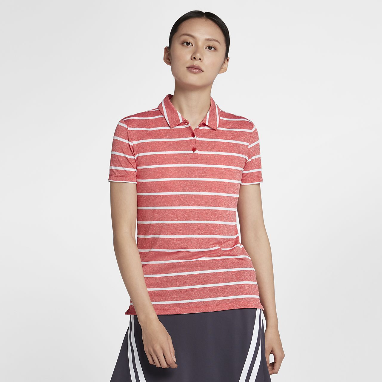 Nike Dri-FIT 女子条纹高尔夫翻领T恤