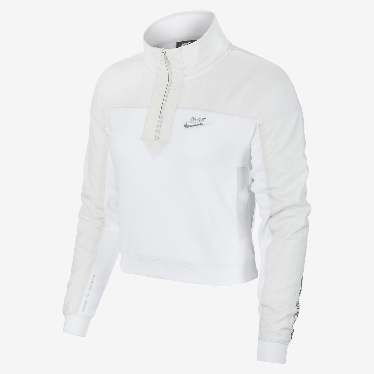 Nike Sportswear 女子半长拉链开襟起绒上衣