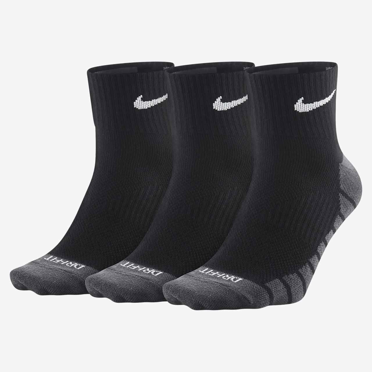Nike Dry Lightweight Quarter Training Socks (3 Pair)