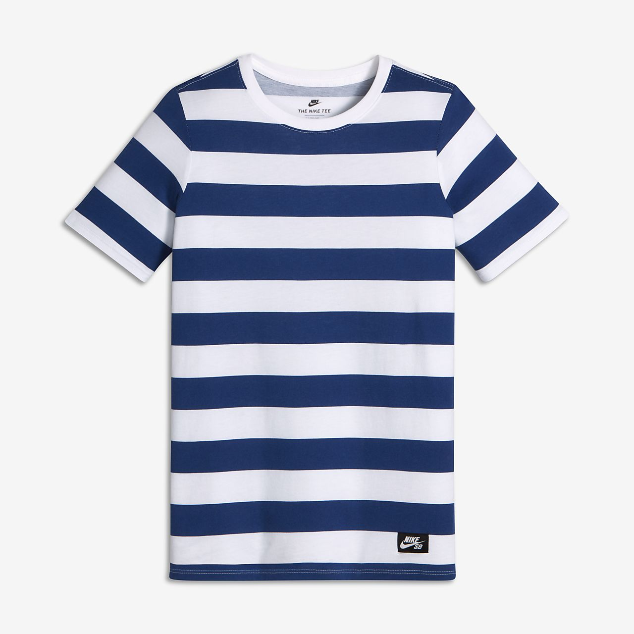 Nike SB Stripe Big Kids' T-Shirts White/Deep Royal Blue