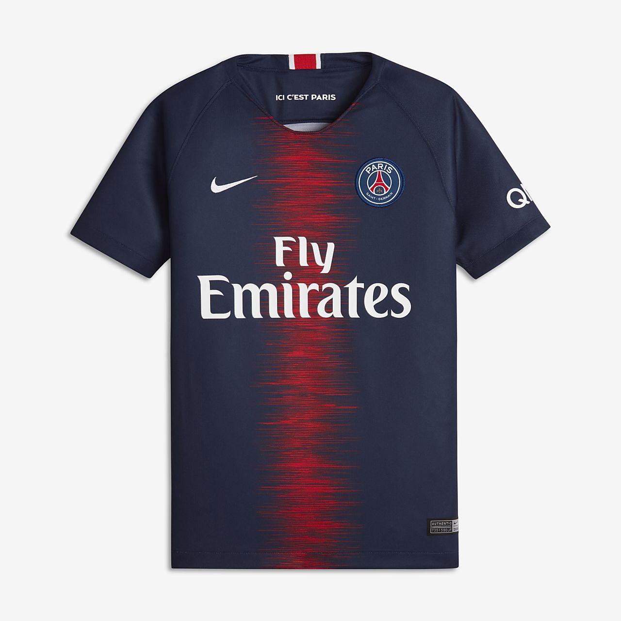 Camiseta de fútbol para niños talla grande de local Stadium del Paris Saint-Germain  2018 92a7b36ce84f7