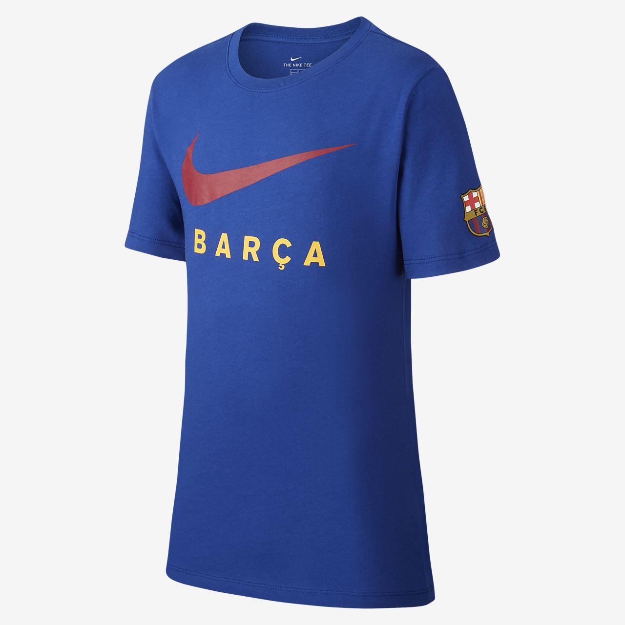 T-shirt de futebol FC Barcelona Júnior