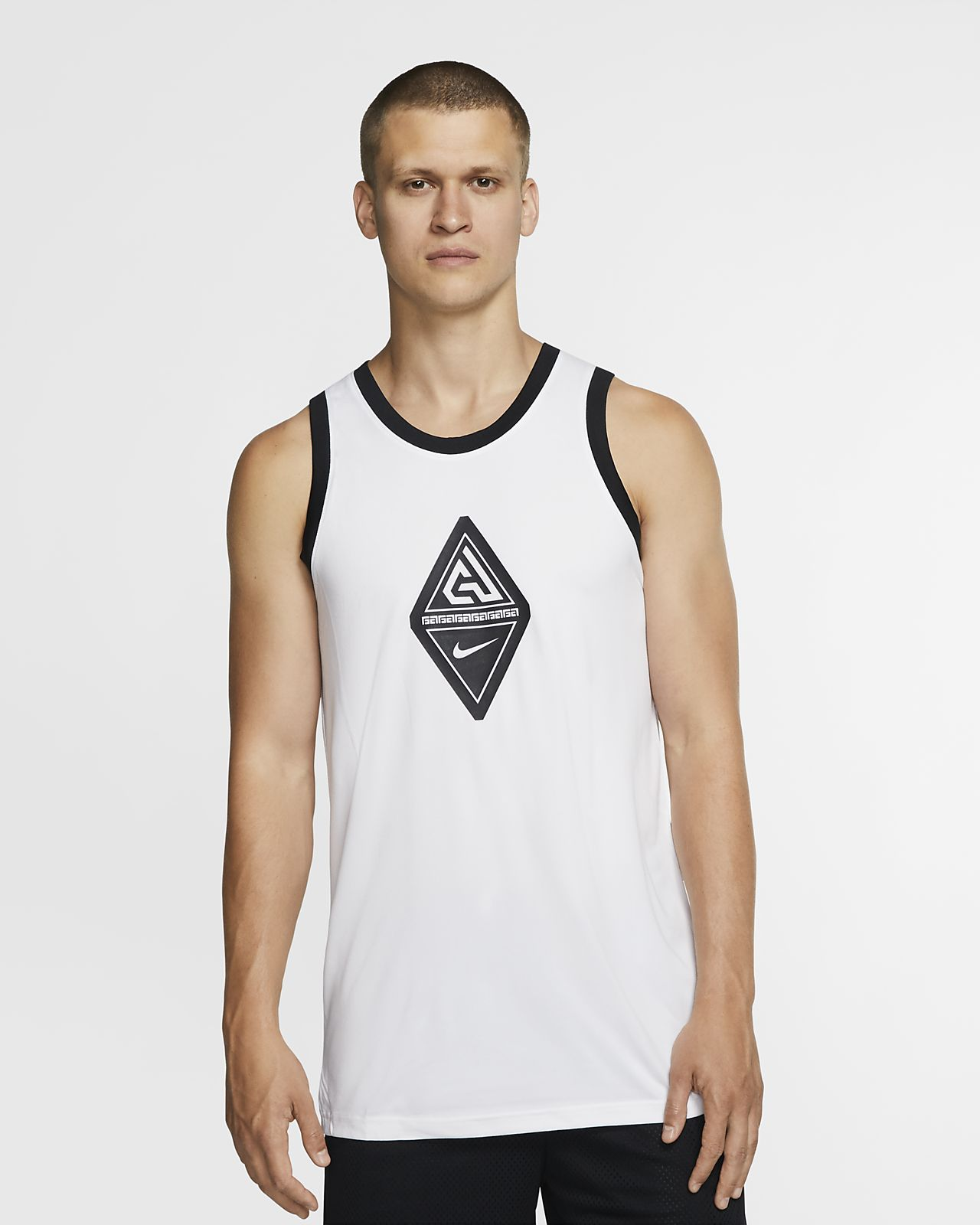Camisola de basquetebol sem mangas com logótipo Giannis para homem