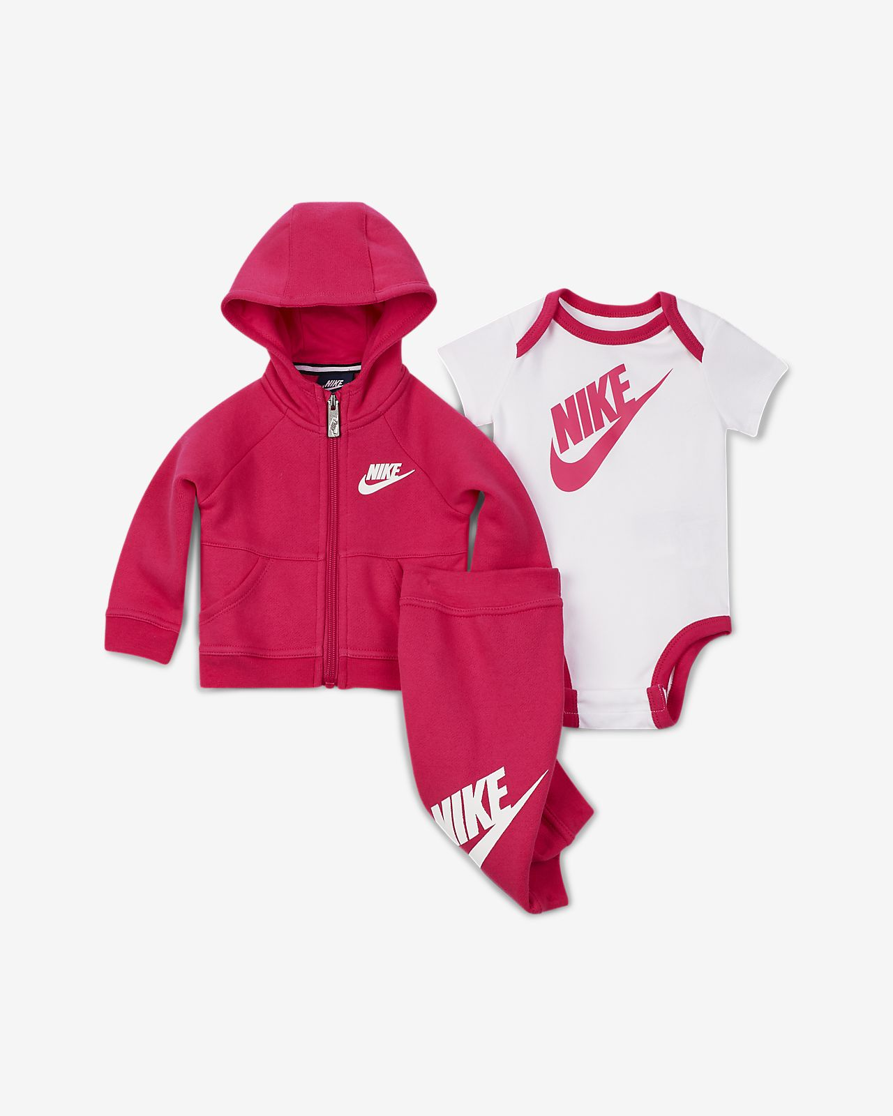 Conjunto de sudadera con capucha, body y pantalones para bebé (0 a 6 meses) Nike
