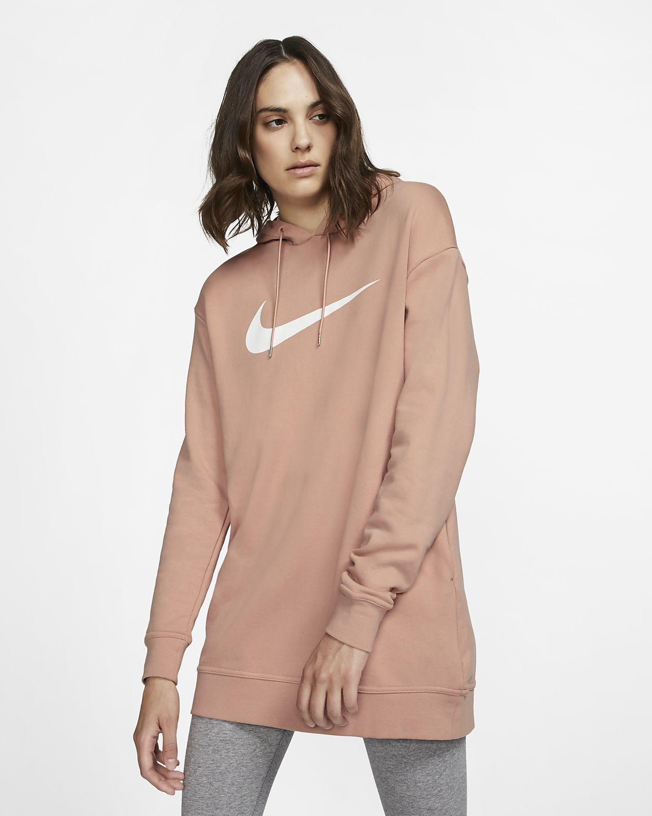 Nike Sportswear Swoosh-frottéhættetrøje til kvinder