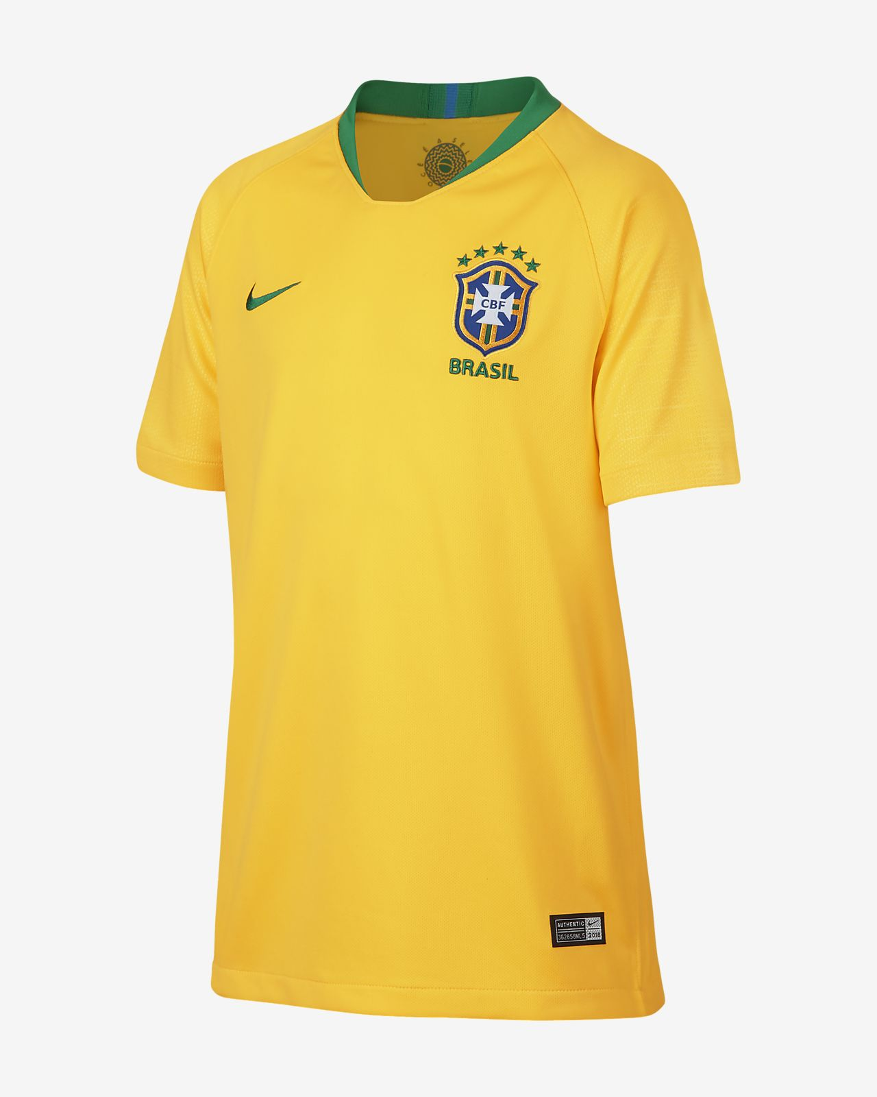 Camiseta de fútbol para niños talla grande 2018 Brasil CBF Stadium Home