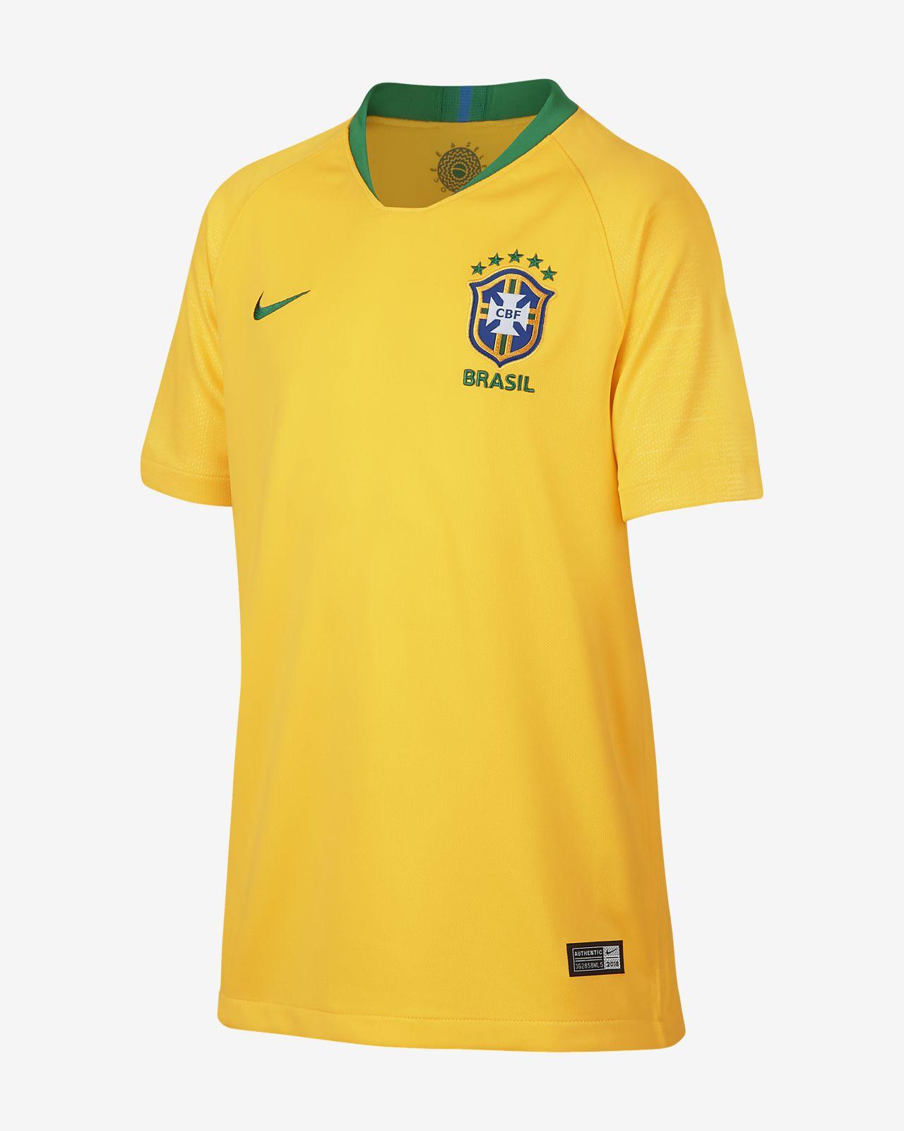 Maillot de football 2018 Brasil CBF Stadium Home pour Enfant plus âgé