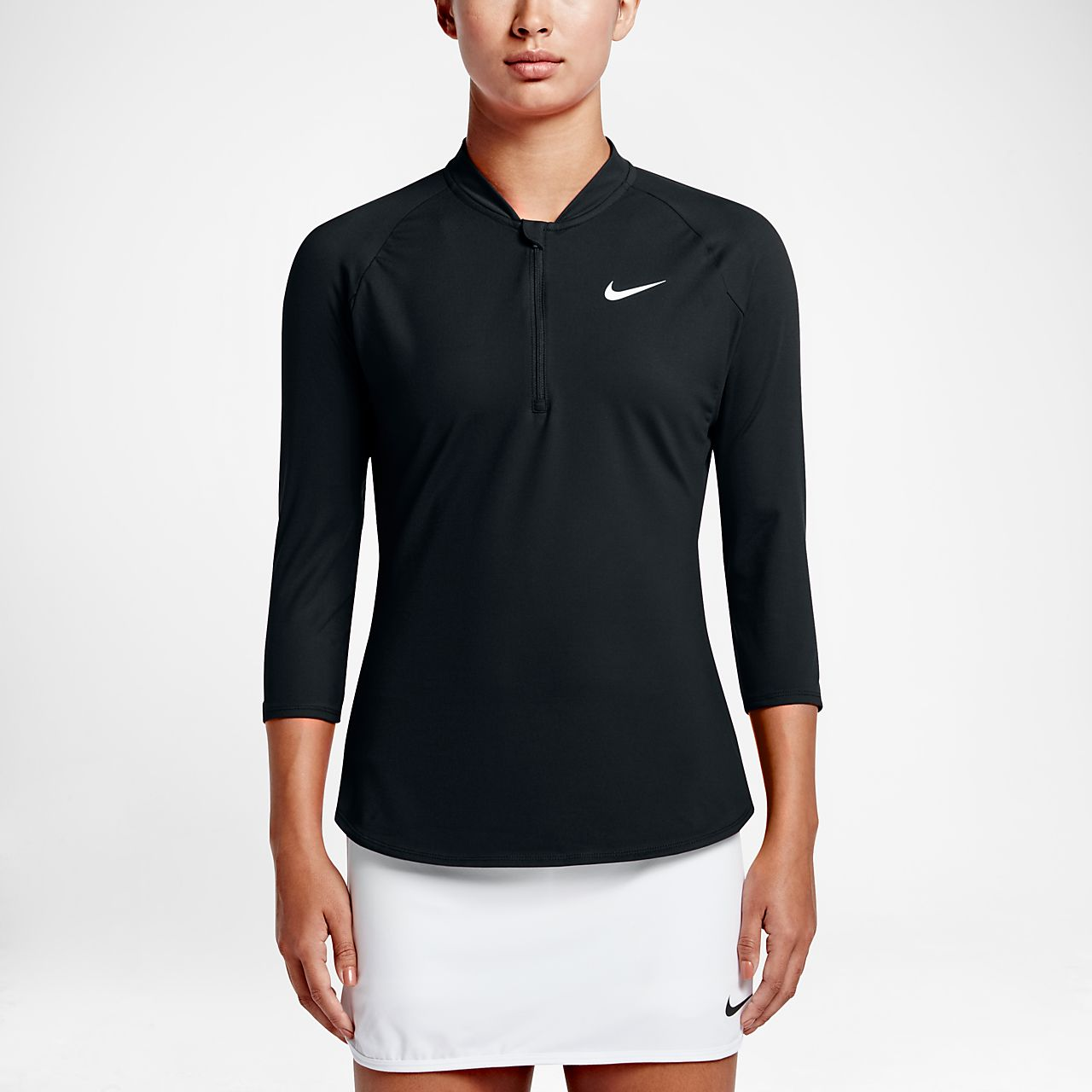 ... NikeCourt Dry Pure Women's 3/4 Sleeve Half-Zip Tennis Top