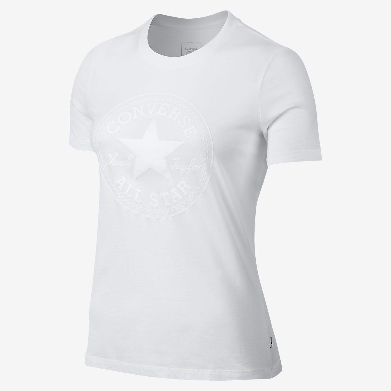 Converse Puff Chuck Patch Crew Women's T-Shirts Black