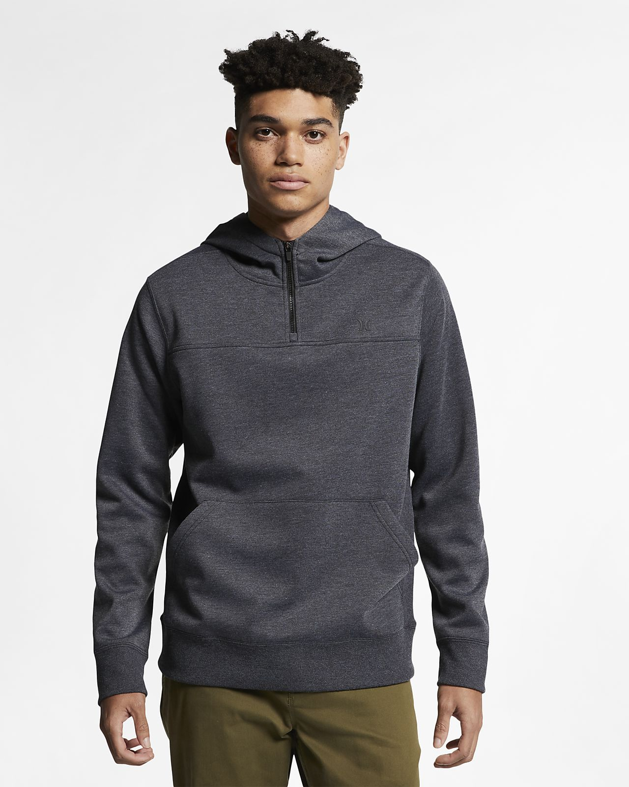 Felpa in fleece con cappuccio e zip a 1/4 Hurley Therma Protect Plus - Uomo