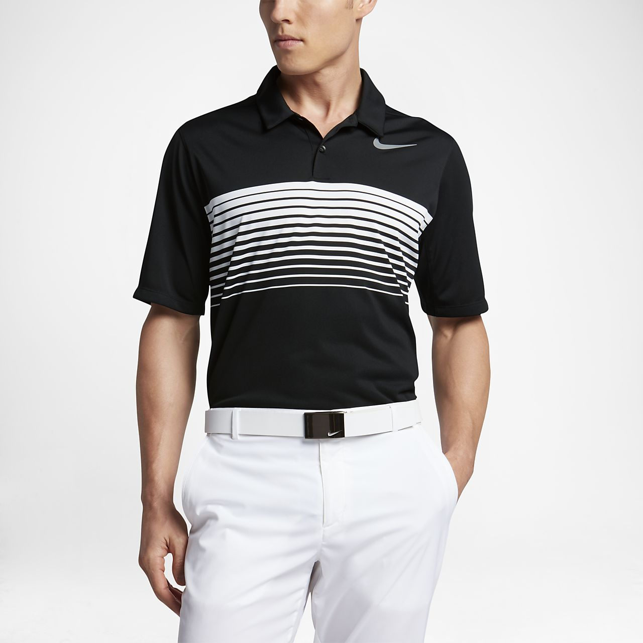 Nike Mobility Speed Stripe Men's Standard Fit Golf Polo Shirts White/Black