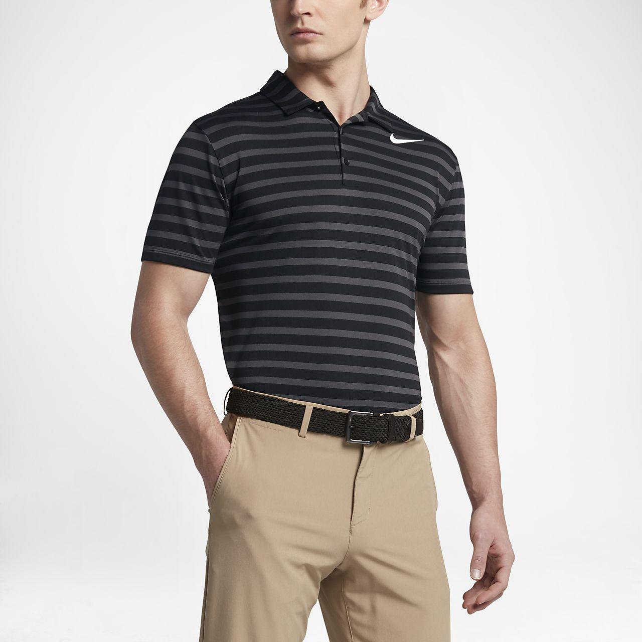 Nike Breathe Stripe Men's Standard Fit Golf Polo Shirts Black/White