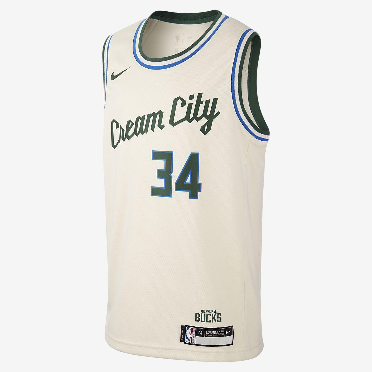 Bucks City Edition Nike NBA Swingman trøje til store børn