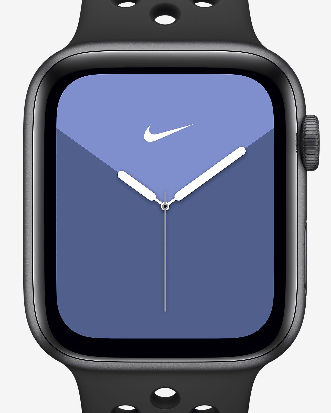 Apple Watch Nike Series 5 (GPS + Mobilfunk) mit Nike Sport Band 44 mm Aluminumgehäuse in Space Gray