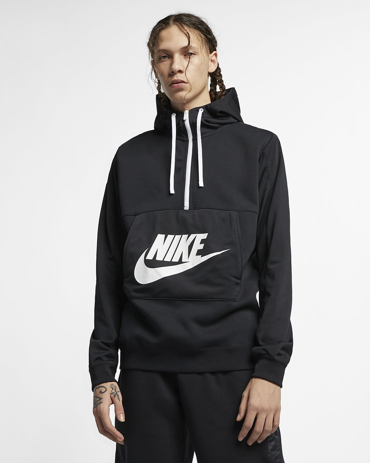 Nike Sportswear rövid cipzáras, kapucnis férfipulóver