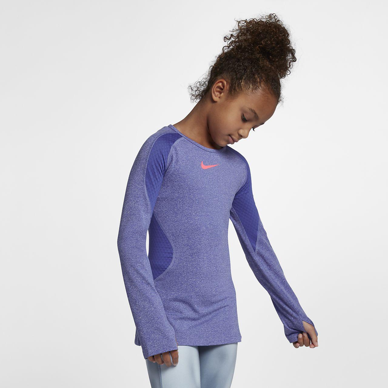 Top de entrenamiento de manga larga para niñas talla grande Nike Pro Warm