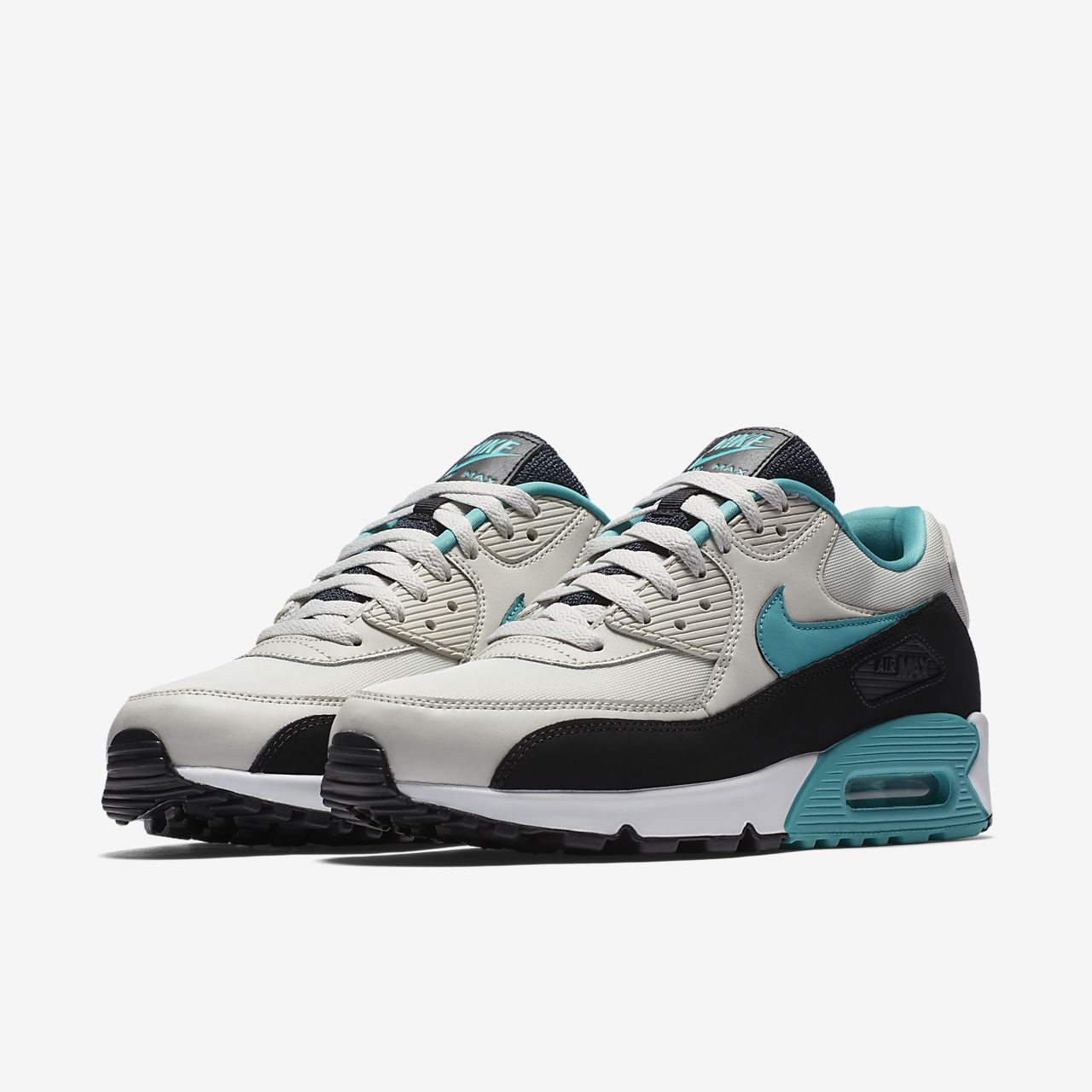 NIKE AIR MAX 90 SHOES  MENS ESSENTIAL SNEAKERS  LIGHT BONE / WHITE / TURQUOISE
