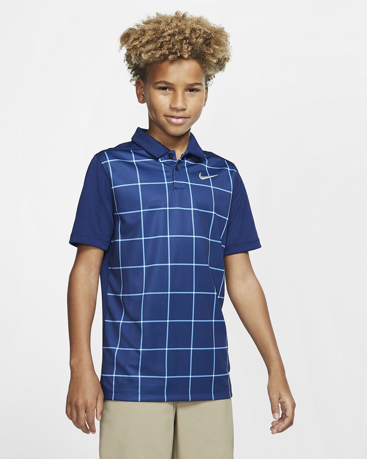 Golfová polokošile Nike Dri-FIT s potiskem pro větší děti (chlapce)