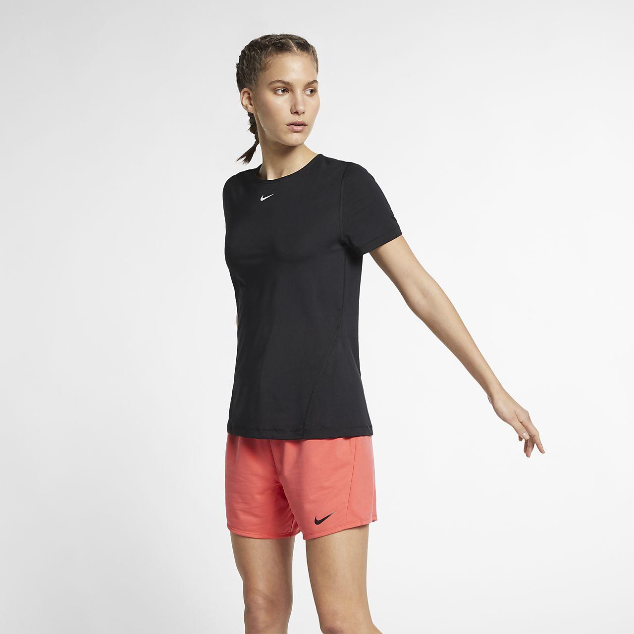 Nike Pro Kısa Kollu Fileli Kadın Antrenman Üstü