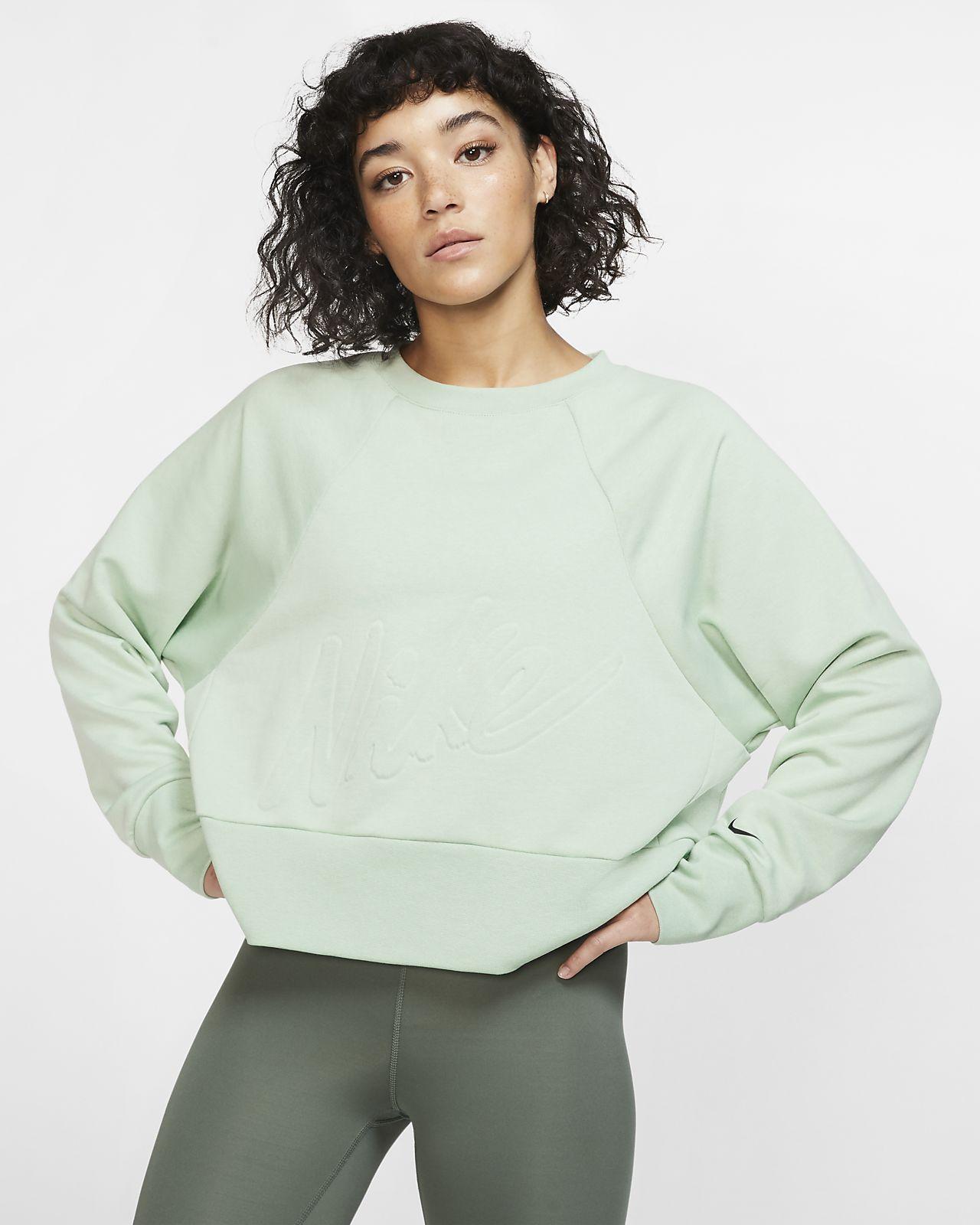 Nike Dri-FIT Get Fit-fleecetræningstrøje med rund hals til kvinder